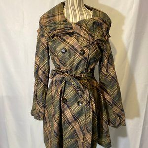 Black Rivet Green Plaid Trench Coat SZ 6